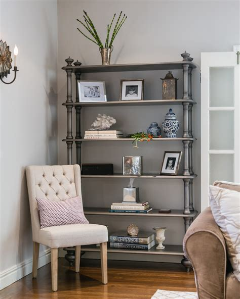 silver bookcase traditional living room san