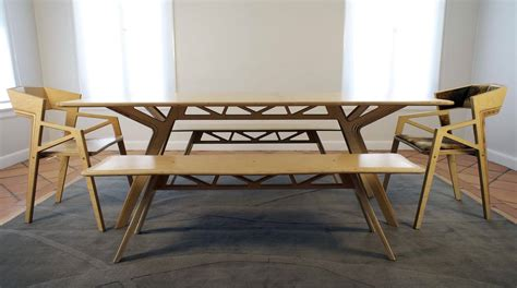 Modern Varnished White Oak Wood Dinng Bench And Chairs Of Modern Dining Tables With Benches