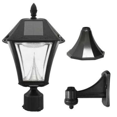 solar outdoor post lights gama sonic baytown ii black resin outdoor solar post wall