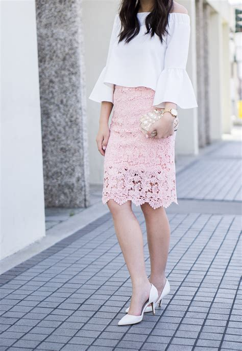 lace pencil skirt the shoulder top just a tina bit