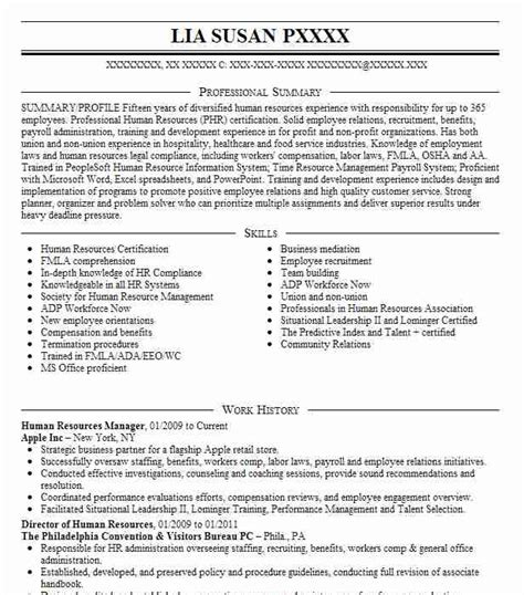 Resume Profile Sles For Human Resources Best Human Resources Manager Resume Exle Livecareer
