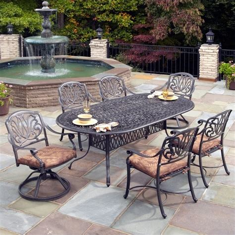 Metal Patio Dining Sets 7 Metal Patio Dining Set In Charcoal 5558 3458