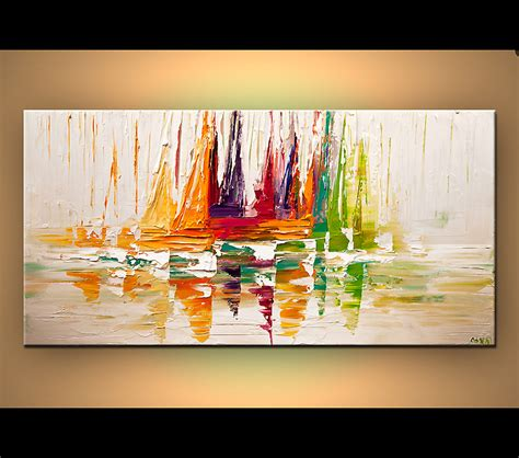 modern paints original abstract paintings by osnat sail boat modern palette knife inspiration