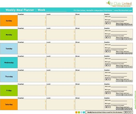 meal planner for weight loss template fit club united weekly meal planner herbalife weight