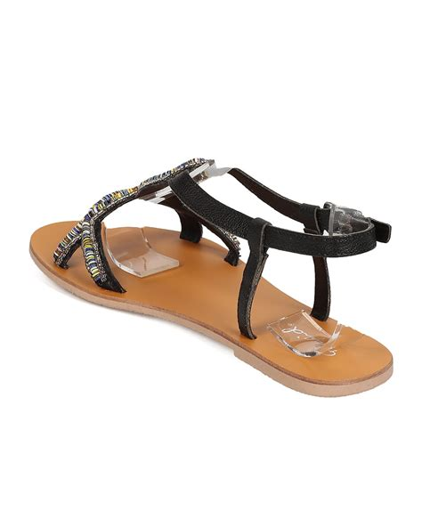 beaded flat sandals new qupid kemore 05 leatherette open toe loopy