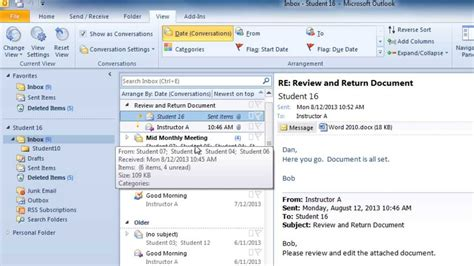 Outlook 2010 Search Not Finding Recent Emails How To Show Your Email In Conversation View In Outlook 2010