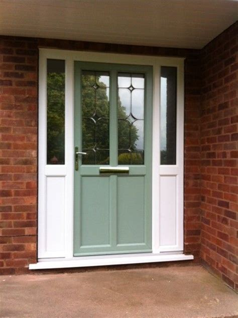 upvc front doors with side panels front door in chartwell green with white upvc side panels