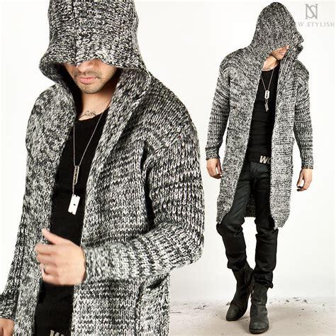 outerwear avant garde knit hood long cardigan