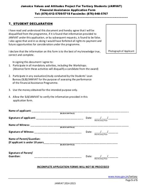 Student Finance Declaration Letter Jamvat Application Form 2014 2015