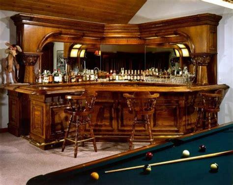 Traditional home bar design nestled in a corner decoist