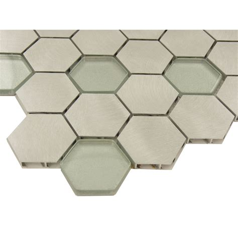 hexagon silver glass and metal tile ft ab123