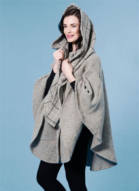 Liza Cape beige check hooded cape blarney