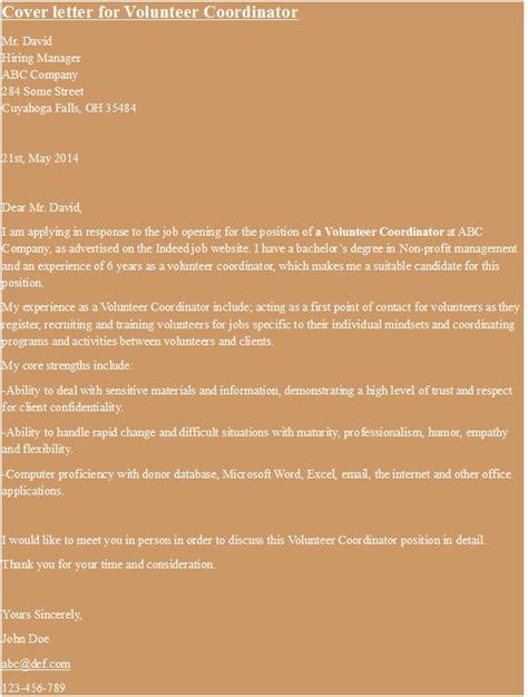 cover letter for volunteer coordinator https hipcv