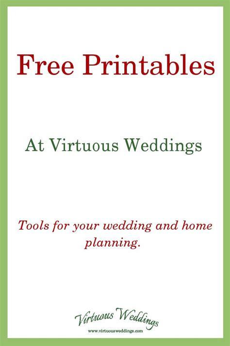 free printable wedding planning tools free printables at virtuous weddings virtuous weddings