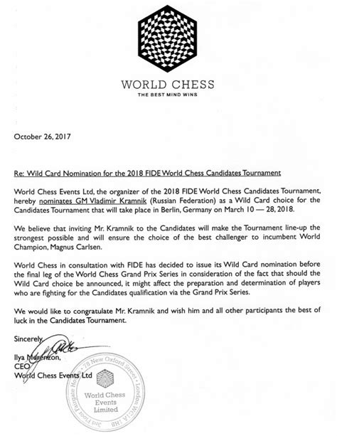 Official Nomination Letter Kramnik To Play 2018 Candidates Chessbase