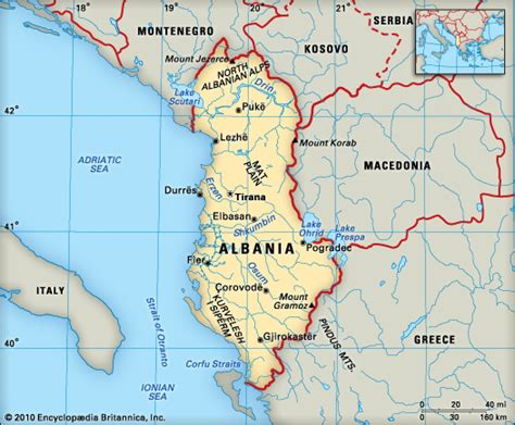 where is albania on the map albania location encyclopedia children s