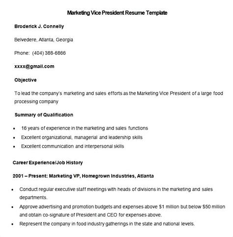 Resume Template Vice President by Sle Marketing Vice President Resume Template Free