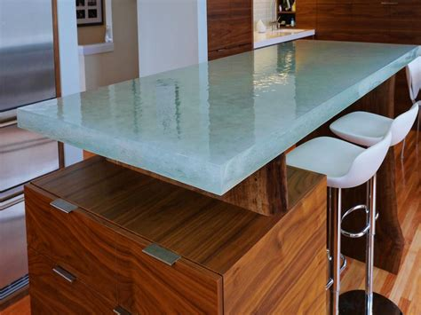 glass top kitchen island glass kitchen countertops hgtv