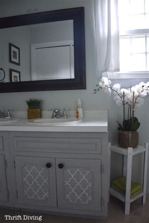 how to paint an old bathroom vanity before after my pretty painted bathroom vanity