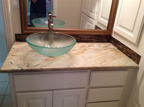 bathroom sink countertops glass vessel sink on fusion granite bathroom countertop yelp