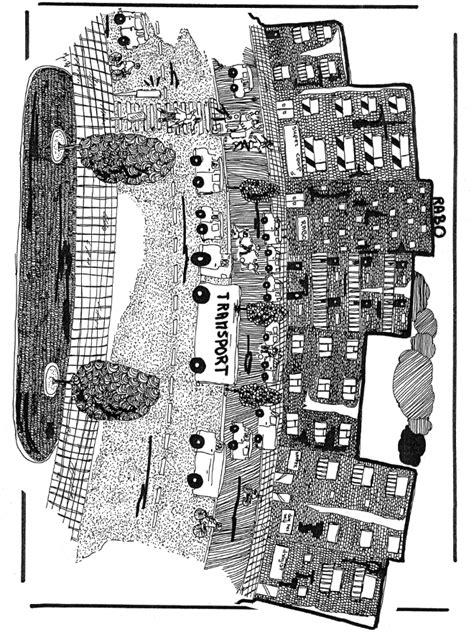Stadt - Ausmalbilder Häuser