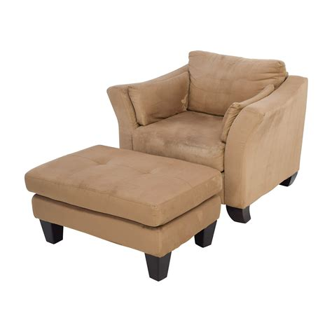 armchair with ottoman 48 off jennifer convertibles jennifer convertible brown