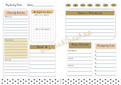 free printable planner inserts 2015 6 best images of large day of the week printables 7 days