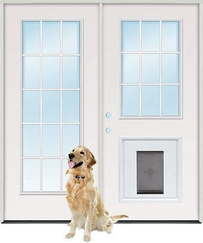 Doggie Doors For Patio Doors Kitchen Door Idea 6 0 Quot 15 Lite 9 Lite Steel Patio Prehung Door Unit With Pet Door