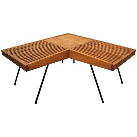 corner bench tables 1950s mahogany and iron corner l shaped slat table or