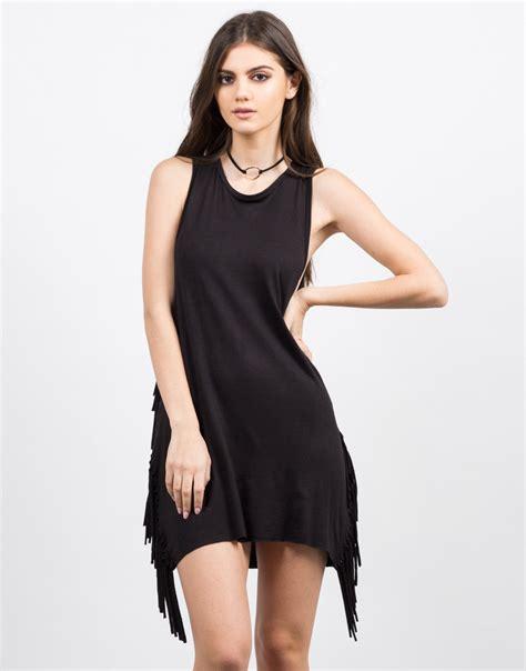 black fringe dress black dress day dress