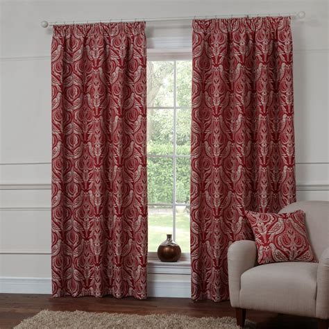 autumn curtains dovecote autumn red ready made curtains 168 x 137cm