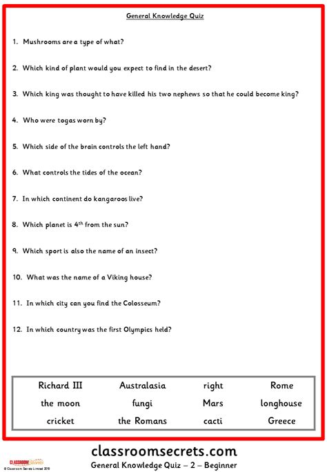 quiz questions general knowledge 2015 general knowledge quiz classroom secrets