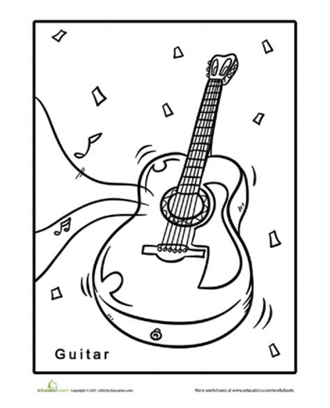 guitar coloring page worksheets guitars and teaching music