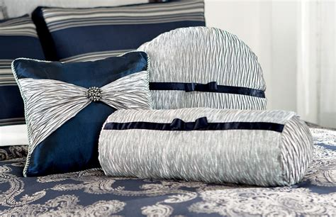 midnight blue silver joy bedding accent toss pillow set
