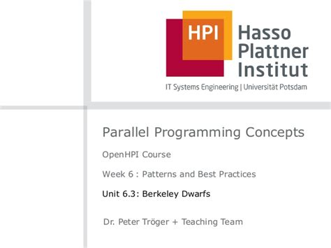 parallel programming concepts and practice books openhpi parallel programming concepts week 6