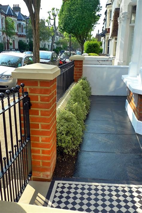 Front Garden Wall Ideas Clapham Balham Mosaic Tile Path Black And White Brick Wall Metal Wrought Iron Rail