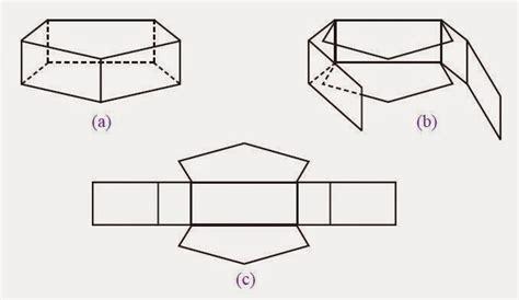 Teh Enam Tiga jaring jaring prisma segitiga segi empat segi lima segi