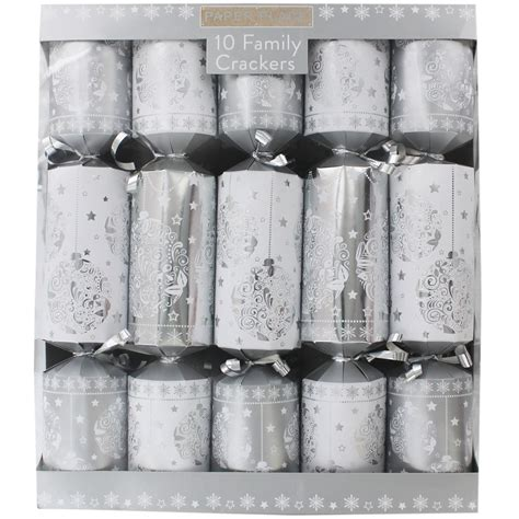 silver family crackers pack of 10 christmas crackers