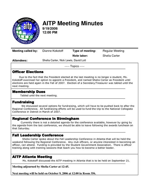template of minutes of meetings exles best photos of template of minutes of meetings exles