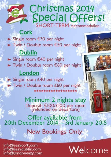 christmas special offers and nye term accommodation special offers