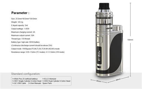 Eleaf Ello 25 Atomizer Sub Ohm Tank 2 0ml Authentic eleaf istick pico 25 85w mod kit with ello tank atomizer