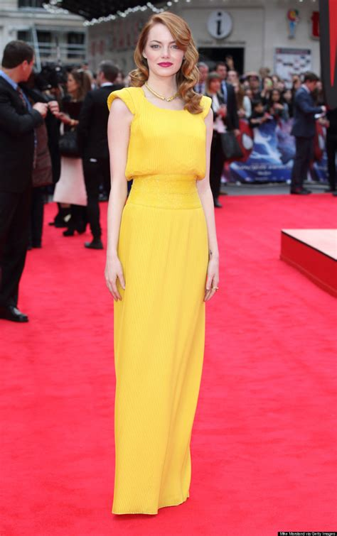 emma stone yellow versace emma stone s yellow amazing spider man 2 versace dress