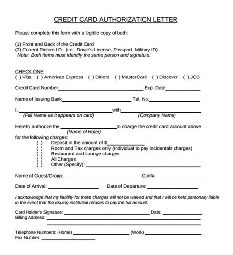 credit card authorization letter template sle credit card authorization letter 9 free