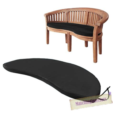 banana benches black 2 seater water resistant outdoor cushion garden banana bench seat pad only ebay