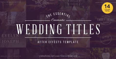 Wedding Titles By Gerardgerard Videohive Premiere Pro Wedding Title Templates