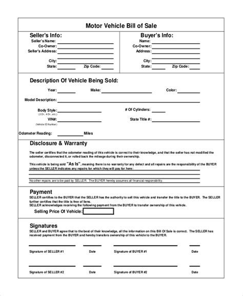 motor vehicle bill of sale template vehicle bill of sale template 11 free word pdf