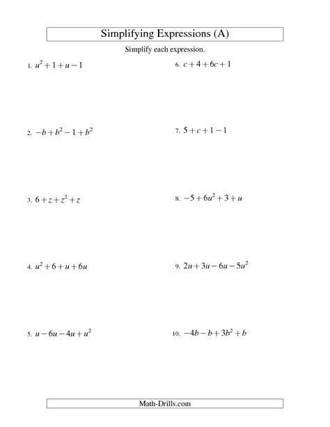 algebraic subtraction worksheets algebra worksheet simplifying algebraic expressions