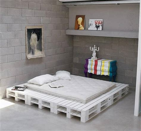 Bed Thing by Diy Chic White Platform Pallet Bed 99 Pallets