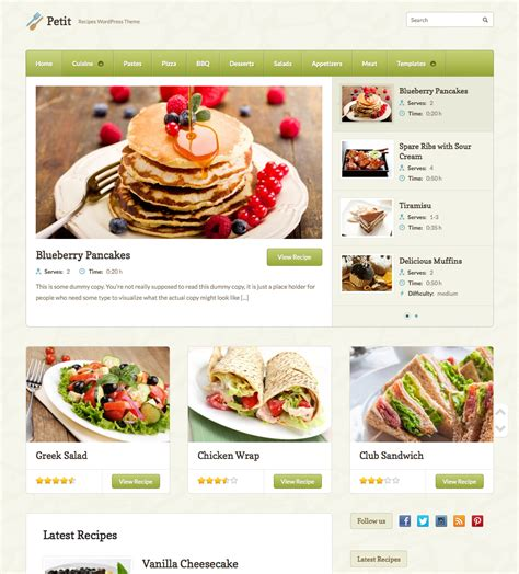 Themes Wordpress Free Food | petit recipe wordpress theme wpexplorer