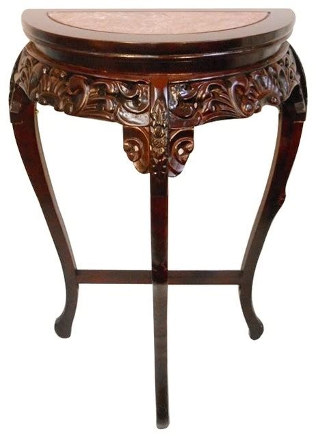 asian accent table oriental furnishings marble top half moon floral carved